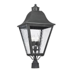 "High Falls Collection 4-Light 29"" Charcoal Post Lantern with Water Glass 1109-C"