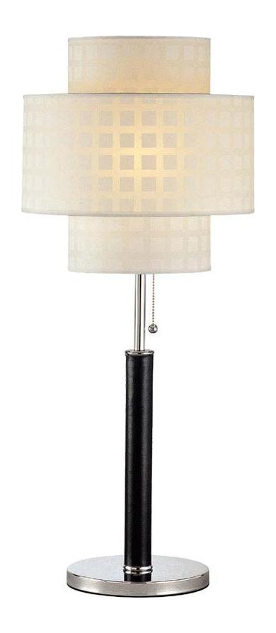 lite source inc 1 light table lamp with leather pole white grid. Black Bedroom Furniture Sets. Home Design Ideas