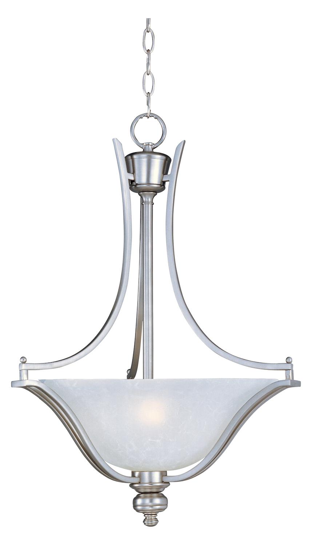 Maxim Three Light Ice Glass Satin Silver Up Pendant Satin