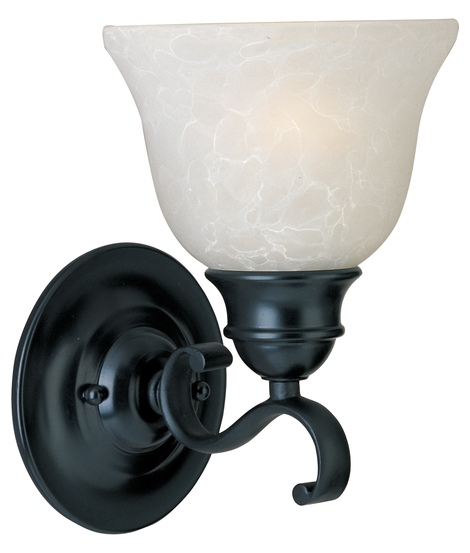 Maxim One Light Black Ice Glass Wall Light Black 11807icbk