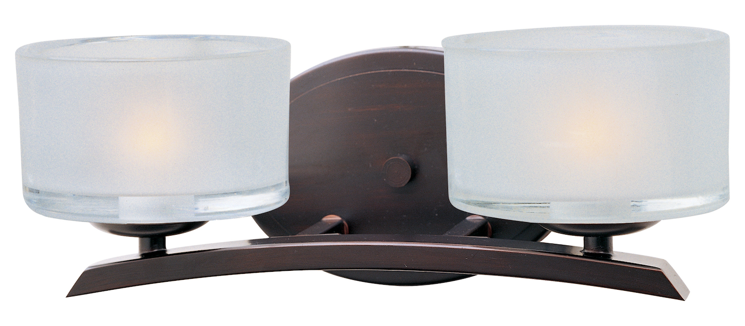 Bronze Vanity Lights With Clear Glass : Maxim Two Light Oil Rubbed Bronze Frosted Glass Vanity Oil Rubbed Bronze 19052FTOI From Elle ...