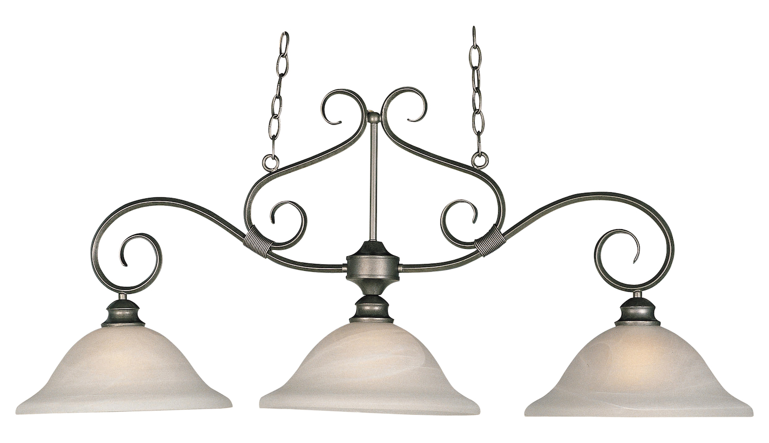 Maxim Three Light Pewter Marble Glass Island Light Pewter