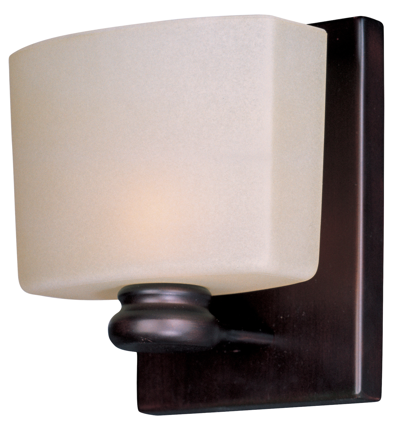 Maxim one light oil rubbed bronze dusty white glass bathroom sconce oil rubbed bronze 9001dwoi for Bathroom wall sconces oil rubbed bronze