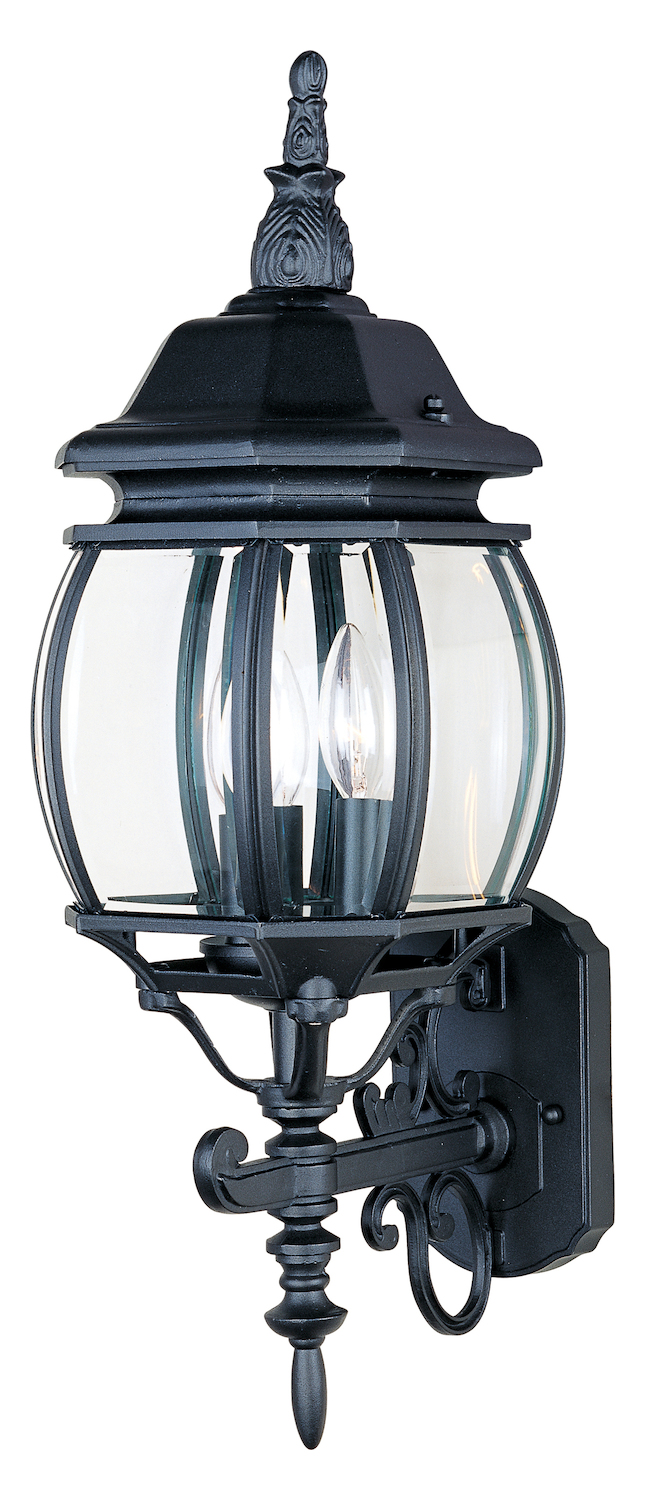 Wall Lantern Replacement Glass : Maxim Three Light Black Clear Glass Wall Lantern Black 1033BK From Crown Hill Collection