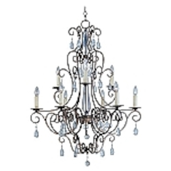 "Hampton Collection 9-Light 39"" Auburn Dusk Chandelier with Crystal Accents 12026AD"