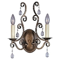 "Hampton Collection 2-Light 14"" Auburn Dusk Wall Sconce with Crystal Accents 12032AD"