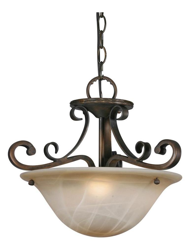 Golden Golden Bronze Three Light Convertible Bowl Pendant