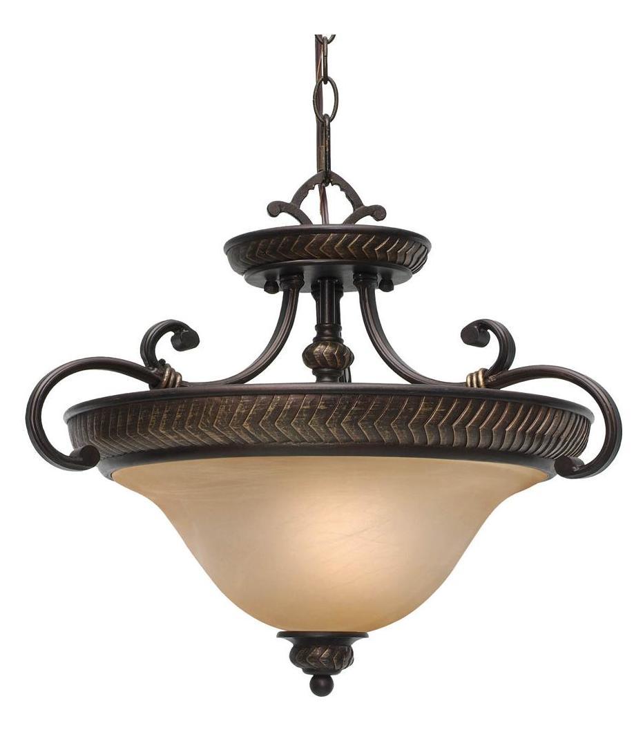 Golden Etruscan Bronze Three Light Convertible Bowl
