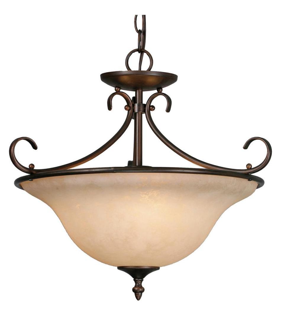 Golden Rubbed Bronze Three Light Convertible Bowl Pendant