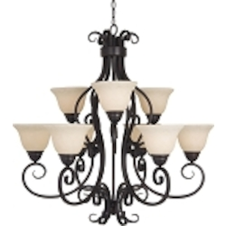 "Manor Collection 9-Light 33"" Oil Rubbed Bronze Chandelier with Frosted Ivory Glass 12207FIOI"