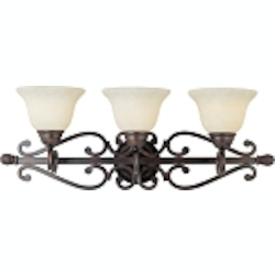 "Manor Collection 3-Light 29"" Oil Rubbed Bronze Bathroom Vanity Fixture with Frosted Ivory Glass 12213FIOI"