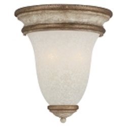 "Accents Provence Collection 2-Light 12"" Provence Patina Wall Sconce with White Patina Glass Shade 1230-580"