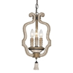 "Accents Provence Collection 3-Light 18"" Patina Mini Chandelier 1232-580"