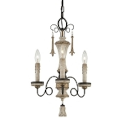 "Accents Provence Collection 3-Light 20"" Provence Patina Mini Chandelier 1233-580"
