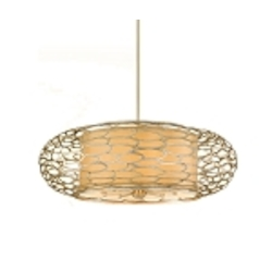 "Cesto Collection 10-Light 44"" Modern Silver Pendant with a Champagne Shade 127-410"