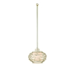 "Cesto Collection 1-Light 7"" Modern Silver Mini Pendant with a Champagne Shade 127-41"