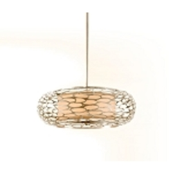 "Cesto Collection 5-Light 24"" Modern Silver Pendant with a Champagne Shade 127-45"