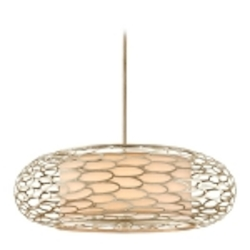 "Cesto Collection 8-Light 34"" Modern Silver Pendant with a Champagne Shade 127-48"