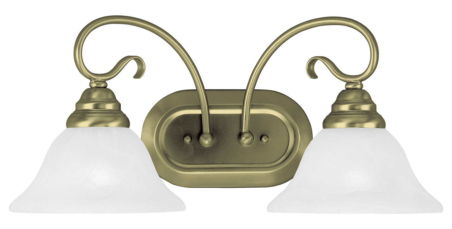 Livex Lighting Antique Brass Coronado 2 Light Bathroom Vanity Light Antique Brass 6102-01 From ...