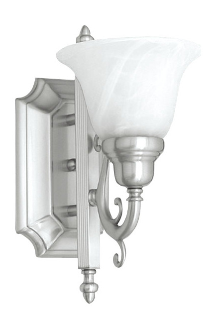 Bathroom Wall Sconces Polished Nickel : Livex Lighting Brushed Nickel Bathroom Sconce Brushed Nickel 1281-91 From French Regency Collection