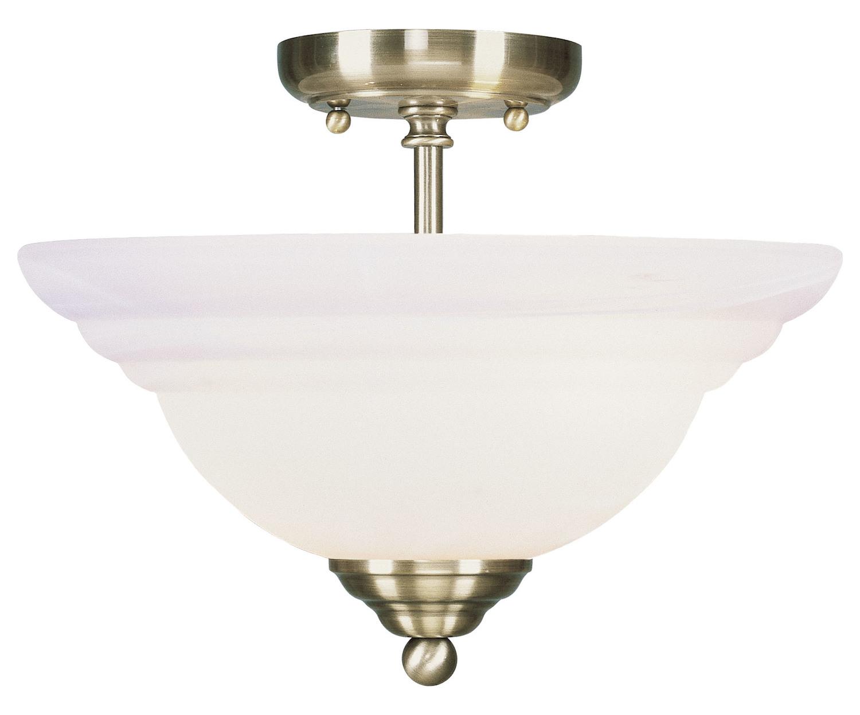 Semi Flush Ceiling Lights Glass Brass Fixture Bathroom: Livex Lighting Antique Brass North Port 2 Light Semi-Flush