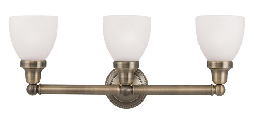 Livex Lighting Antique Brass Classic 3 Light Bathroom