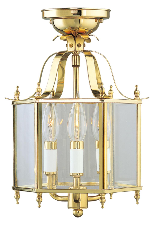 Livex Lighting Polished Brass Foyer Hall Semi Flush Mount