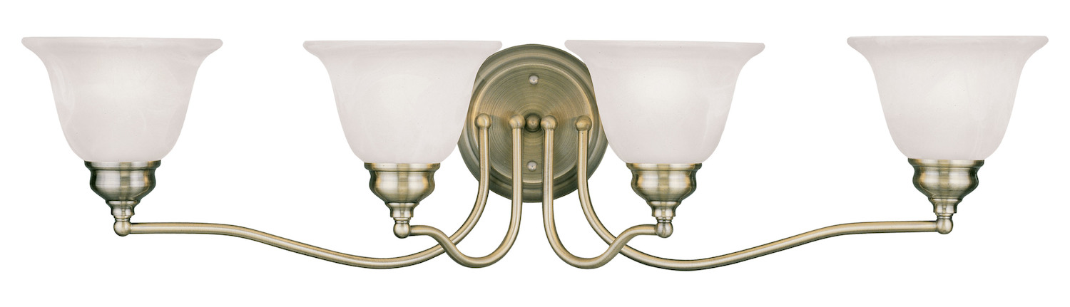 Antique Bathroom Vanity Lights : Livex Lighting Antique Brass Essex Bathroom Vanity Bar With 4 Lights Antique Brass 1354-01 From ...