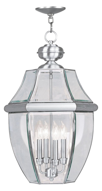 Foyer Lighting Fixtures Brushed Nickel : Livex lighting brushed nickel outdoor foyer hall fixture
