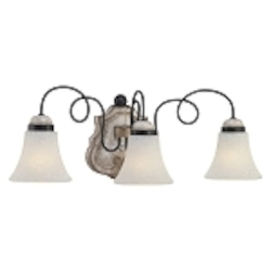 "Accents Provence Collection 3-Light 23"" Provence Patina Bath Vanity Fixture with White Patina Glass Shade 1293-580"