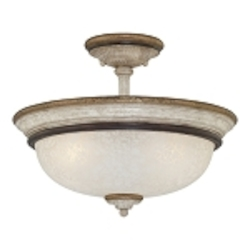 "Accents Provence Collection 3-Light 15"" Provence Patina Semi-Flush with White Patina Glass Shade 1298-580"