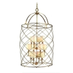 "Argyle Collection 12-Light 47"" Aged Brass Foyer Fixture with Box Pleat Shades 13-412"