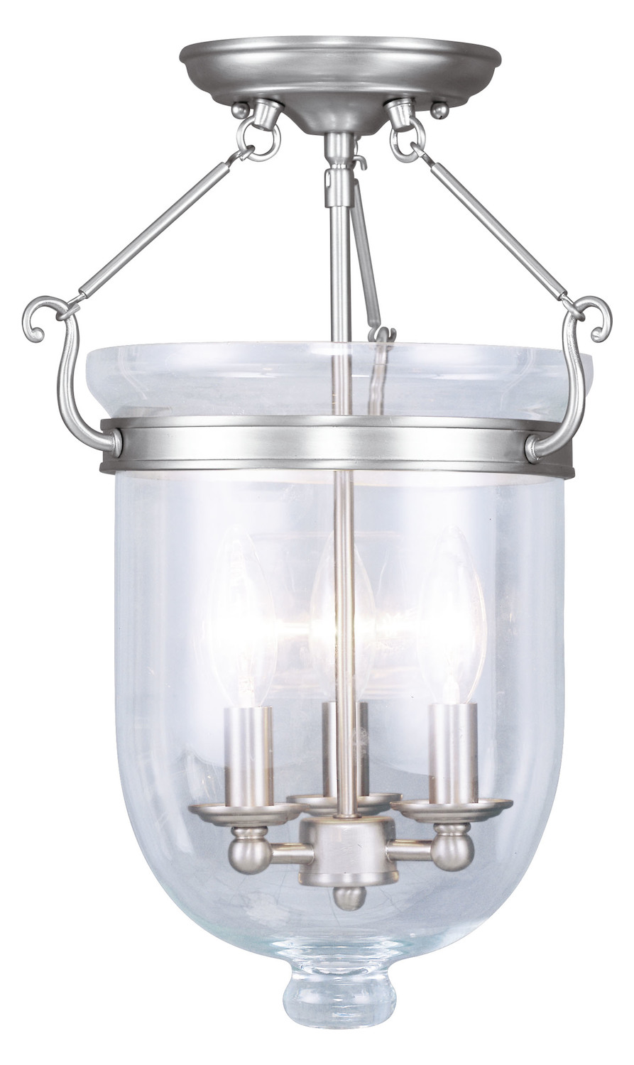 Foyer Semi Flush Mount Lighting : Livex lighting brushed nickel foyer hall semi flush mount