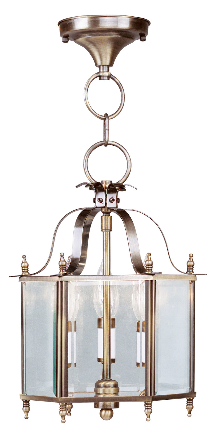 Livex Lighting Antique Brass Livingston 3 Light Semi Flush