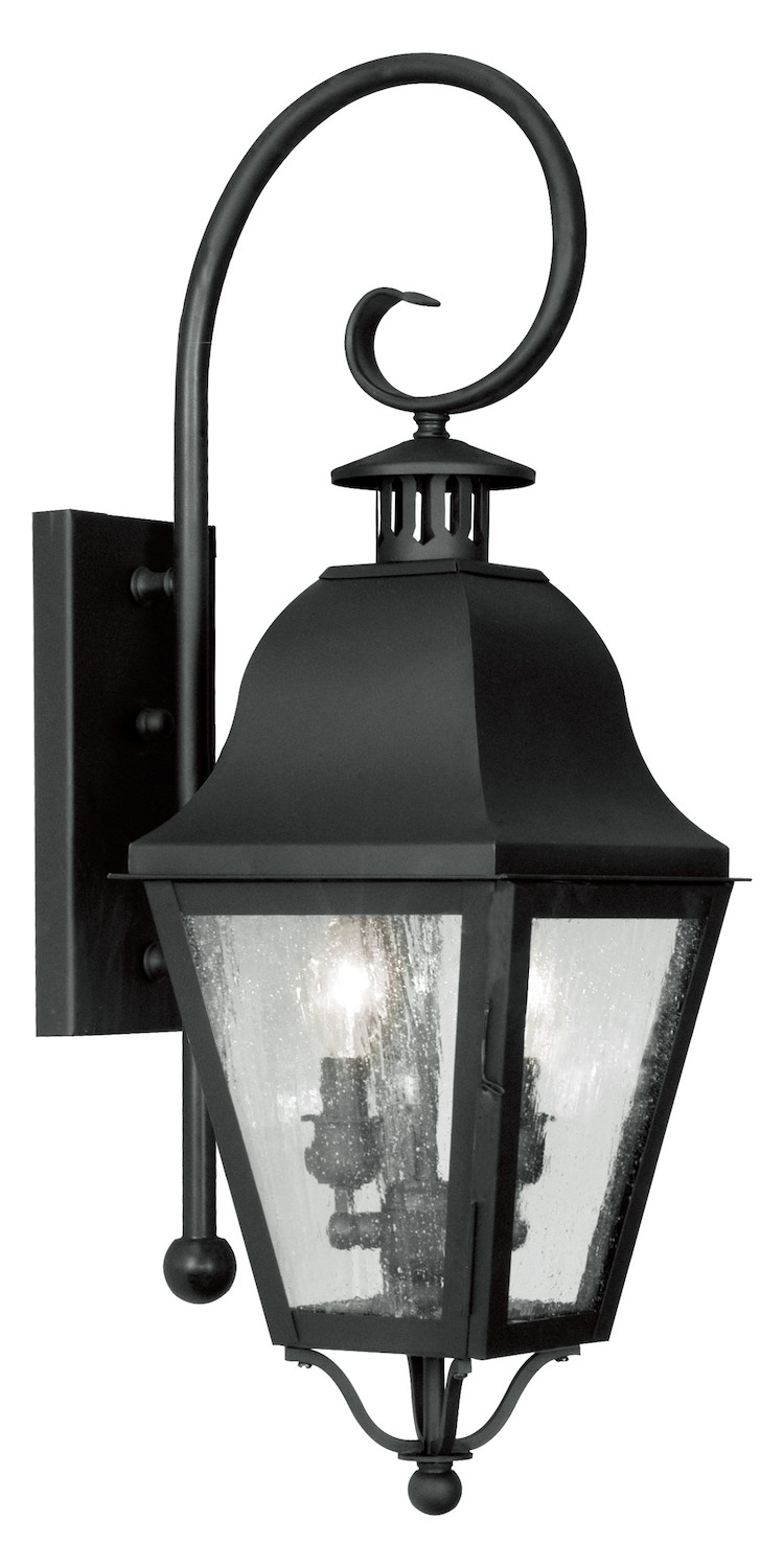 Outdoor Wall Sconces Black : Livex Lighting Black Amwell Large Outdoor Wall Sconce With 2 Lights Black 2551-04 From Amwell ...