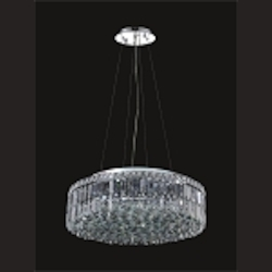 "Ibiza Design 12-Light Round 24"" Hanging Pendant Chandelier with European or Swarovski Crystals SKU# 13092"