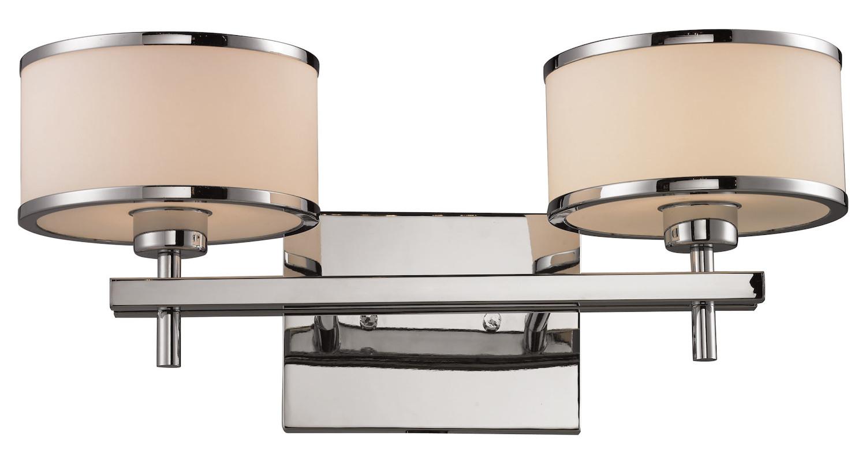 Avalon Polished Chrome Bathroom Vanity Ceiling Lights: ELK Lighting Two Light Polished Chrome Vanity Polished