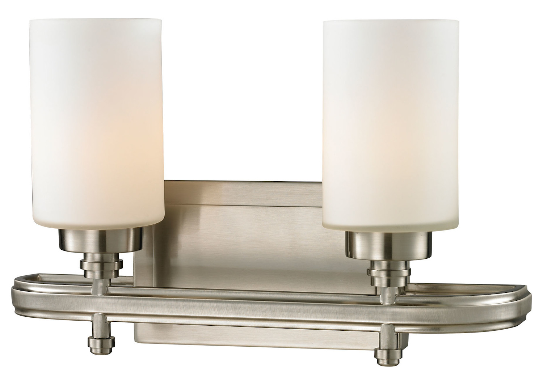 Elk lighting dawson two light bath bar nickel 11661 2 for Elk bathroom lighting