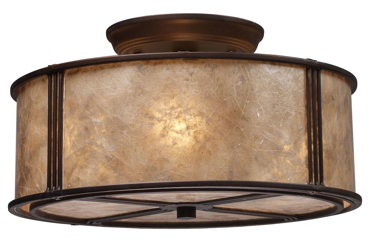 ELK Lighting Three Light Aged Bronze Tan Mica Shade Drum ...