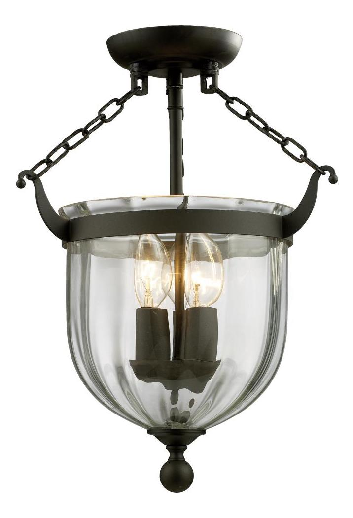 Foyer Semi Flush Mount Lighting : Z lite three light bronze clear glass foyer hall semi