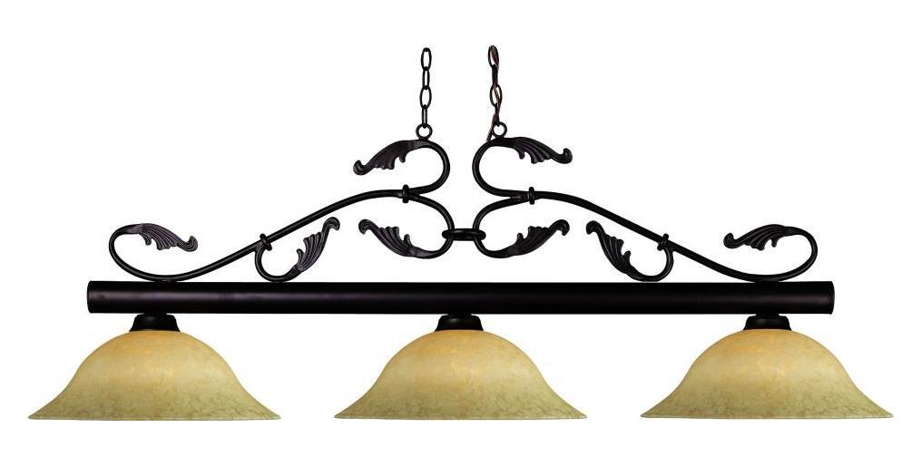 Z Lite Three Light Bronze Golden Mottle Glass Pool Table