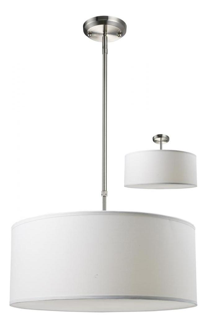 Z Lite Three Light Brushed Nickel White Linen Shade Drum