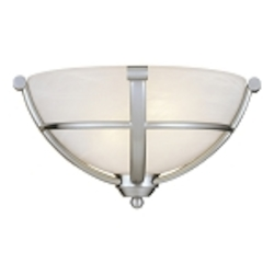 "Paradox Collection 2-Light 13"" Brushed Nickel Wall Sconce with Etched Marble Glass 1420-84"