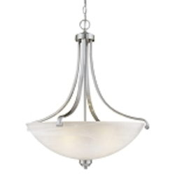 "Paradox Collection 4-Light 28"" Brushed Nickel Pendant with Etched Marble Glass 1422-84"