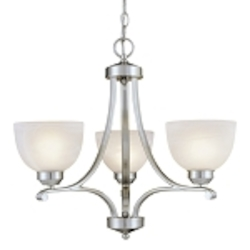 "Paradox Collection 3-Light 23"" Brushed Nickel Mini Chandelier with Etched Marble Glass 1423-84"