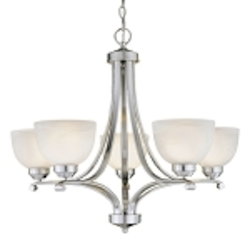 "Paradox Collection 5-Light 27"" Brushed Nickel Chandelier with Etched Marble Glass 1425-84"