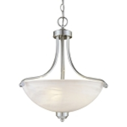 "Paradox Collection 3-Light 20"" Brushed Nickel Pendant with Etched Marble Glass 1426-84"