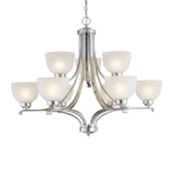"Paradox Collection 9-Light 34"" Brushed Nickel Chandelier with Etched Marble Glass 1429-84"