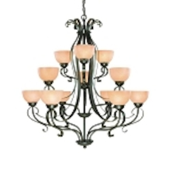 "Brook field Collection 12-Light 45"" Brownstone Chandelier with Faux Alabaster Glass Shade 14412-BST"