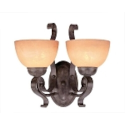 "Brook field Collection 2-Light 15"" Brownstone Wall Sconce with Faux Alabaster Glass Shade 14422-BST"